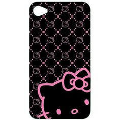 Hello Kitty Polycarbonate Wrap for iPhone 4 Black/ Pink (KT4488BK4) ($9.99) ❤ liked on Polyvore