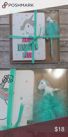 """""""It's a Unee-corn!"""" gift set Old school locked diary with a unicorn on the cover. Also comes with a cute unicorn pen. Will come in simple box with velvet tie. Great gift for Unicorn lovers.  DD 17.12.16 Eclectic Betty Accessories"""