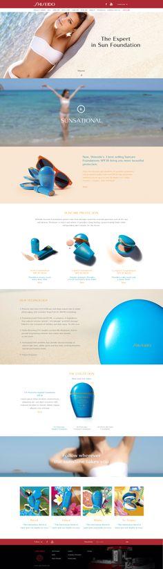 """Design & création d'un mini-site """"Suncare"""". en Responsive Design avec Parallaxe pour la marque """"Shiseido"""". #WebDesign #Luxe #UX"""