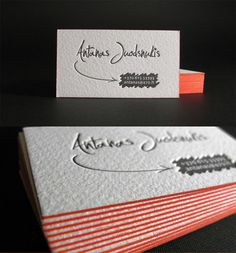 Antanas Juodsnukis    Personal card printed in one color on heavy 500 gsm paper with painted edge in orange. Simply beautiful letterpress.