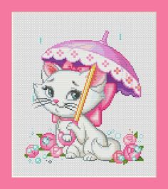 Cat Marie with Purple Umbrella Counted Cross by InstantCrossStitch