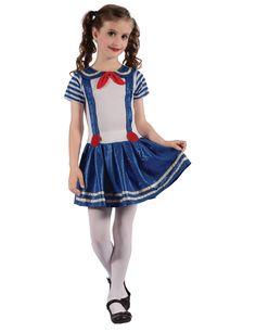 Robe style marin fille robe d/'été blanc marine Costume 3 6 12 24 m