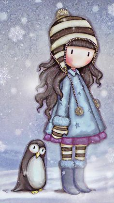 My little penguin friend Little Doll, Little Girls, Digi Stamps, Cute Images, Whimsical Art, Cute Illustration, Fabric Painting, Cute Cartoon, Cute Drawings