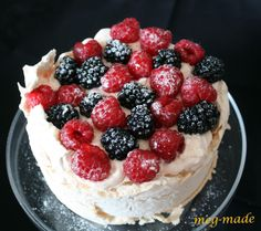meg-made: The Aussie Pav! Time to try to get this recipe down.  egg whites + sugar + whipped cream + berries = true husband happiness.