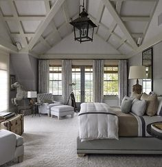 Rustic Farmhouse Bedroom in Grey + Layered Mineral Tones. Rustic farmhouse style?