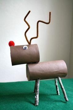 Paper towel reindeer - Christmas activities for children