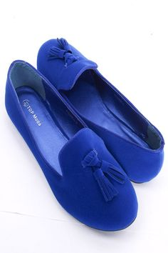 blue loafers.