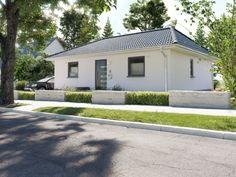 Massivhaus BUNGALOW 78 modern mit Walmdach - | HausbauDirekt.de Bungalows, Town Country Haus, House Plans, Garage Doors, Shed, Outdoor Structures, Outdoor Decor, Home Decor, Ideas