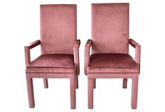 One Kings Lane - Pink  Parsons Chairs, Pair