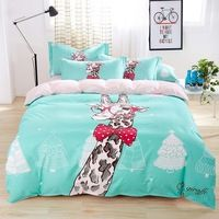 New Cartoon Bedding Set King Size 4pcs Cotton Duvet Cover Bed Sheet Pillowcases Reactive Printed Bed Sets Kids Cozy Bedlinen