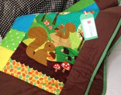 Fox blanket cot quilt woodland nursery quilt crib by Angiespatch