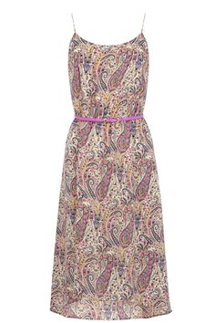 It's all getting a little bit seventies this summer and this pastel coloured paisley printed midi dress is a real statement piece. The dress features on trend cami straps and a nipped in waist complete with pink skinny belt. The piece is finished with a dip hem on the reverse.