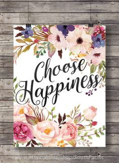 "Watercolor ""Choose happiness"" flowers wreath print - purple Printable wall art - digital print"