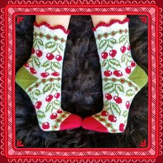 Ravelry: Cherry Dream (körsbärsdröm) pattern by JennyPenny Knitting Stitches, Knitting Socks, Hand Knitting, Knit Stockings, Knit Shoes, Patterned Socks, Pattern Library, Knit Or Crochet, Knitting Patterns