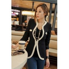 USD12.49Cheap Casual Style Long Sleeves Patchwork Black Blazer