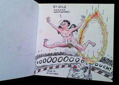 """day 15 tema: """"il circo e lu demonio che salta il cerchio di fuoco"""". #inktober #inktober2015 #day15 #sketchbook #illustration #illustrazione #massoneriacreativa #ink #devil #circo #demonio"""