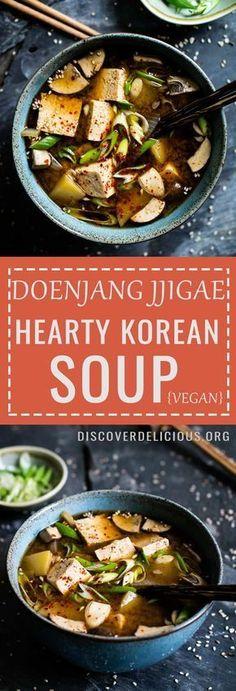 Doenjang Jjigae hearty Korean soup Popular Korean comfort food vegan Quick and easy to make Discover Delicious Korean Soup Recipes, Healthy Soup Recipes, Asian Recipes, Cooking Recipes, Diet Recipes, Tofu Recipes, Recipies, Vegan Korean Food, Vegan Food