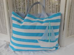 Large Beach Bag  Tote  Turquoise Blue & White Stripes with Sailboat Applique