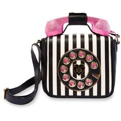 Betsey Johnson Stripe Phone Crossbody Bag ($108) ❤ liked on Polyvore featuring bags, handbags, shoulder bags, stripe, betsey johnson, crossbody shoulder bags, stripe purse, pocket purse and retro handbags