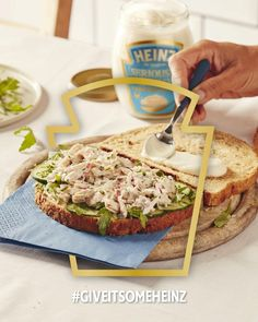 Tuna sandwich with Heinz [Seriously] Good Mayonnaise, a firm favourite of many households. We pop cucumber, watercress and fresh lemon juice to jazz it up. #GiveItSomeHeinz Healthy Meals To Cook, Healthy Eating Recipes, Easy Meals, Cooking Recipes, Healthy Foods, Heinz Recipe, Christmas Cheese, Food Hub, Yummy Lunch
