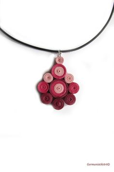 Pink Ombre Quilling Pendant Pink Necklace Pink by GermanistikArt