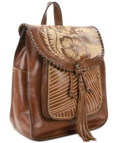 Patricia Nash Cuban Carved Jovanna Small Backpack - Tan Beige Small  Backpack 53bab4fa39adb