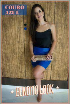Bendito Look - Couro Azul #benditolook #lookdodia #lookoftheday #fashion #moda #style #estilo #saia #couro #azul