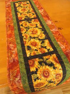 Handmade Table Runner Quilted Sunflowers on Handmade Artists' Shop