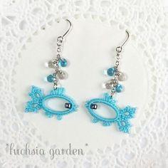 Needlework.  Tatting |  VK Tatting Earrings, Tatting Jewelry, Lace Jewelry, Tatting Lace, Fabric Jewelry, Diy Earrings, Diy Jewelry, Crochet Earrings, Handmade Jewelry