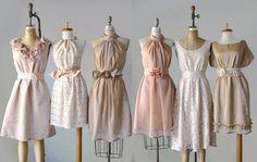 you pick the colors!     mismatched bridesmaid dresses / Dress / Bridesmaid / Romantic /  tan /lace /blush  / Fairy / Dreamy / Bridesmaid / Party / wedding / Bride. $89.99, via Etsy.