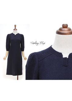 lovely and ladyish knitdressknitted dress navy by KnittingbyDB