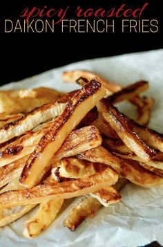 These Spicy Roasted Daikon Radish French Fries are a sure fire way to get everyone to love daikon radishes. One of the most unique daikon recipes, this is a great side dish or snack. #Frenchfries #fries #daikon #daikonradish #radish #roastedfries #bakedfries #spicy #chilipaste #chilepaste #tamari #soysauce #ginger #snacks #Asianfood #Asianflavors #chinesenewyear #daikonrecipes