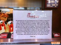 """Wherein we take Chick-Fil-A to task for their funding of anti-gay stuff, and also for their CEO responding to said spending by saying, """"Guilty As Charged!"""" via Upworthy."""