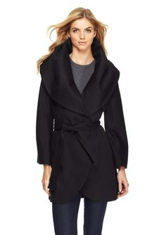 Marla Wrap Coat Wool-blend wrap coat; Oversized shawl collar; Front, on-seam pockets; Flattering princess seams; Open front style with self-tie belt at waist; Fully lined Tie #BeltWomen #Outerwear