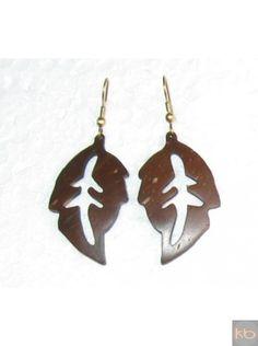 Coconut Shell Leaf Earrings