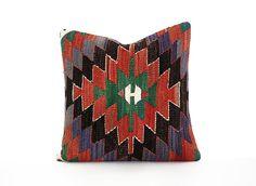 decorative handmade turkish old 16x16 kilim pillow home