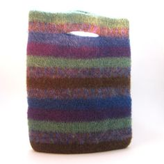 Fulled wool purse.  Love this!  I could totally see cutting up a fulled sweater to make this.