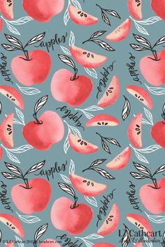 Red Apples Watercolor Pattern. All designs and illustrations are © LZ CATHCART OF THE SUMMERY UMBRELLA, LLC