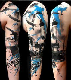 Trash Polka Lighthouse Tattoo Idea