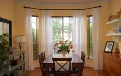 How To Choose The Right Curtains, Blinds, Shades, and Window Treatments For Your Doors And Windows We're answering a flurry of window treatment questions in one fell swoop. If you've ever had a window treatment question, chances are the answer's here! Kitchen Window Treatments With Blinds, Corner Window Treatments, Kitchen Window Blinds, Blinds For Windows, Window Coverings, Bay Windows, Kitchen Curtains, Breakfast Nook Curtains, Breakfast Nooks