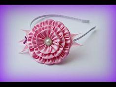 Kanzashi Flower DIY. Розовый цветок канзаши своими руками