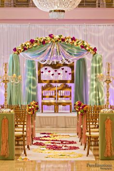 mandap, with a simple isleway, but elegant