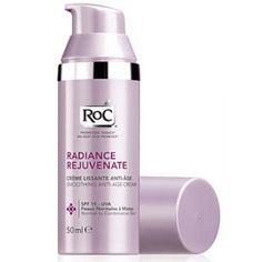 Roc Rosto Radiante Rejuvenescimento, para pele normal e mista, junta 4 poderosos activos que actuam em múltiplas camadas da superfície da pele para atenuar as rídulas e rugas, redensificando e uniformizando o tom de pele para revelar a sua luminosidade. Redensifica, Suaviza, Ilumina. Contém SPF 15 - UVA.