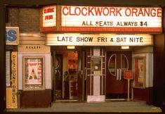 Alan Wolfson. The Rialto Cinema with its marquee advertising 'Clockwork Orange' (1992).