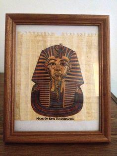 V Rare Egyptian King Tut Handmade Art Painting on Ancient Papyrus Framed Antique