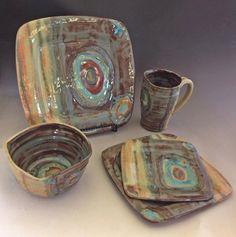Handmade Ceramic Place Setting by PotterybyJessie on Etsy Pottery Place, Slab Pottery, Glazes For Pottery, Ceramic Pottery, Clay Plates, Ceramic Plates, Handmade Pottery, Handmade Ceramic, The Potter's Hand