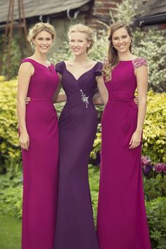 Beautiful Berry tones... Stunning bridesmaids dresses, slim and slinky silhouettes with unique necklines