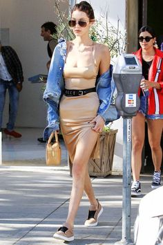 Bella Hadid makes a compelling case for the belted slip dress