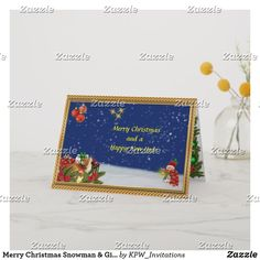 Merry Christmas Snowman & Gifts Scene Holiday Card