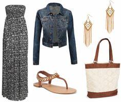 jean jacket and a maxi dress